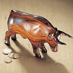 Carved Wooden Bull Sculpture