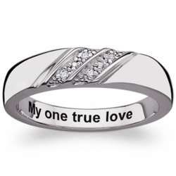 Sterling Silver Double Row Diamond Engraved Message Band