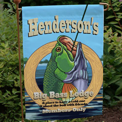 Personalized Big Bass Lodge Garden Flag