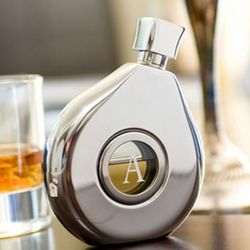Oval Stainless Flask with Glass Center