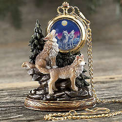 Wolf Pocket Watch with Stand