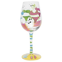 Handpainted Bikini Wine Glass