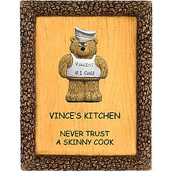 Chef Teddy Bear on Personalized Kitchen Plaque