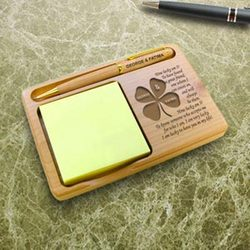 Personalized Lucky You and I Wooden Notepad and Pen Holder