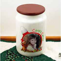 Photo and Text Personalized Christmas Candy Jar