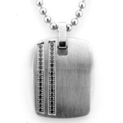 Clarion Black Diamond Dog Tag Necklace