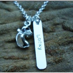 Lucky Fortune Cookie Hand Stamped Necklace in Sterling Silver