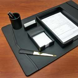 Executive Class Black Leather Personalized Desk Set