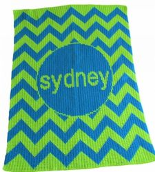 Personalized Chevron Full Size Blanket