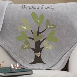 Leaves of Love Personalized Family Throw Blanket