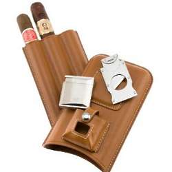 Personalized Triple Cigar Holder with Lighter and Cutter