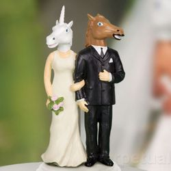 Unicorn and Horse Wedding Cake Topper