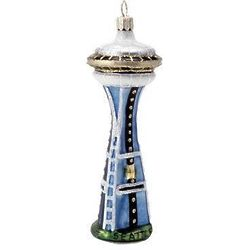 Space Needle Blown Glass Christmas Ornament
