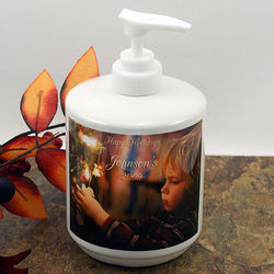 Holiday Photo and Text Personalized Hand Soap Dispenser