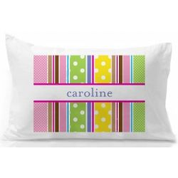 Personalized Striped and Polka Dot Pillowcase