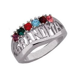 Personalized Grandma Birthstone Ring