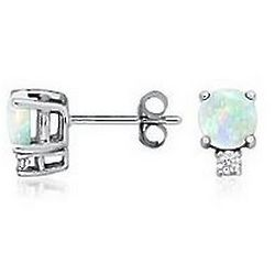 18K White Gold Opal and Diamond Stud Earrings