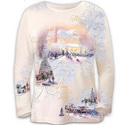 Thomas Kinkade Fine Art Winter Memories Shirt