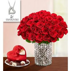 Diamonds and Rubies Rose Bouquet with Necklace and Chocolate