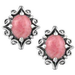 Rhodochrosite Post Button Earrings