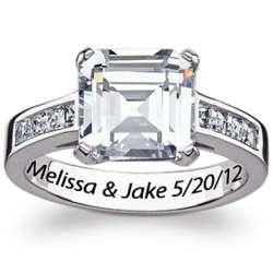 Sterling Silver Asscher-Cut Cubic Zirconia Engagement Ring