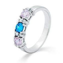 Close to the Heart 3-Birthstone Ring with CZ Gemstones