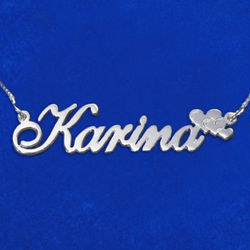 Personalized Sterling Silver Hearts Name Necklace