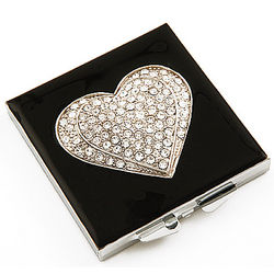 Heart to Heart Rhinestone Compact Purse Mirror
