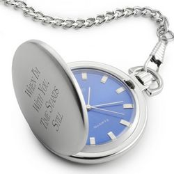 Blue Sunray Pocket Watch