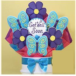 Get Well Cookie Bouquet with Flowers and Butterflies