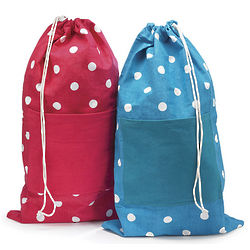 Bright Polka Dot Personalized Laundry Bag