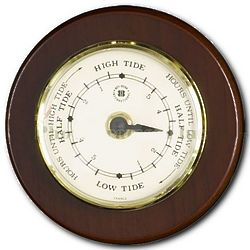 Brass Tide Clock on Cherry Wood