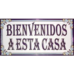 Handmade Bienvenidos a Esta Casa Ceramic Tile Sign