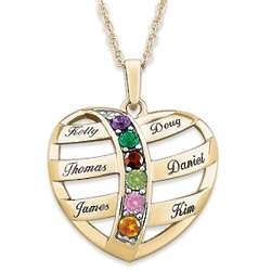 Gold Over Sterling Mother's Name and Birthstone Heart Necklace