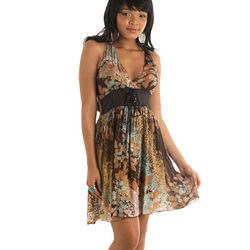 Flirty Spring Time Cotton Racer-Back Dress