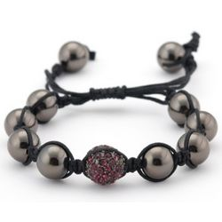 Shamballa Inspired Bead Bracelet Gunmetal and Amethyst