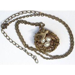 Antiqued Brass Wire Bird's Nest Necklace
