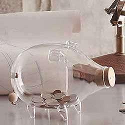 Hand Blown Glass Piggy Bank