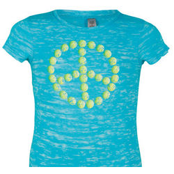 Junior Tahiti Blue Tennis Peace Tee
