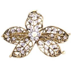 Vintage Gold Flower Cubic Zirconia Hair Clip