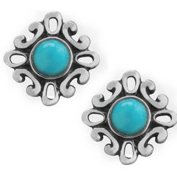 Sleeping Beauty Turquoise Filigree Button Earrings