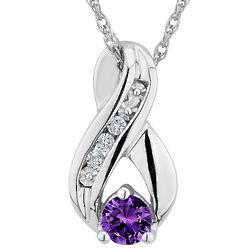 Amethyst Infinity Pendant with 1/5 Carat Diamonds