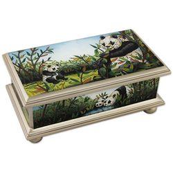 Happy Panda Family Reverse Painted Glass Box