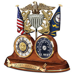 Personalized Navy Values Thermometer Desk Clock