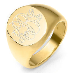 Personalized Monogram Classic Oval Gold Signet Ring