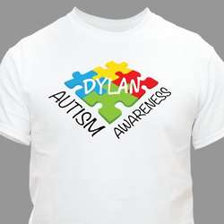 Personalized Autism Awareness Colorful Puzzle Pieces T-Shirt