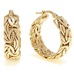 14k Yellow Gold Byzantine Hoop Earrings