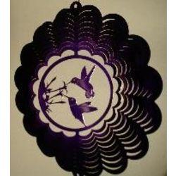 """12"""" Double Hummingbird Purple Wind Spinner"""