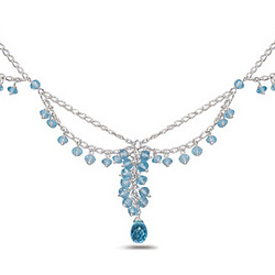 12.40 Ct Blue Topaz Necklace in Sterling Silver