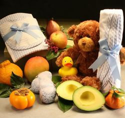 Baby Basket with Booties and Blanket Set